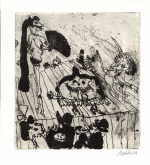 "MOLDOVAN Kurt  ""Zirkus"", 1971  etching (83 / 200)  size of the plate 19 x 18 cm sheet size 23,9 x 21,7 cm    please click the image to enlarge"