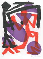 "PENCK A.R.  ""Kontrolle""  lithography<br />edition: 50 pieces  size of the plate 90 x 66 cm sheet size 107 x 75 cm    please click the image to enlarge"