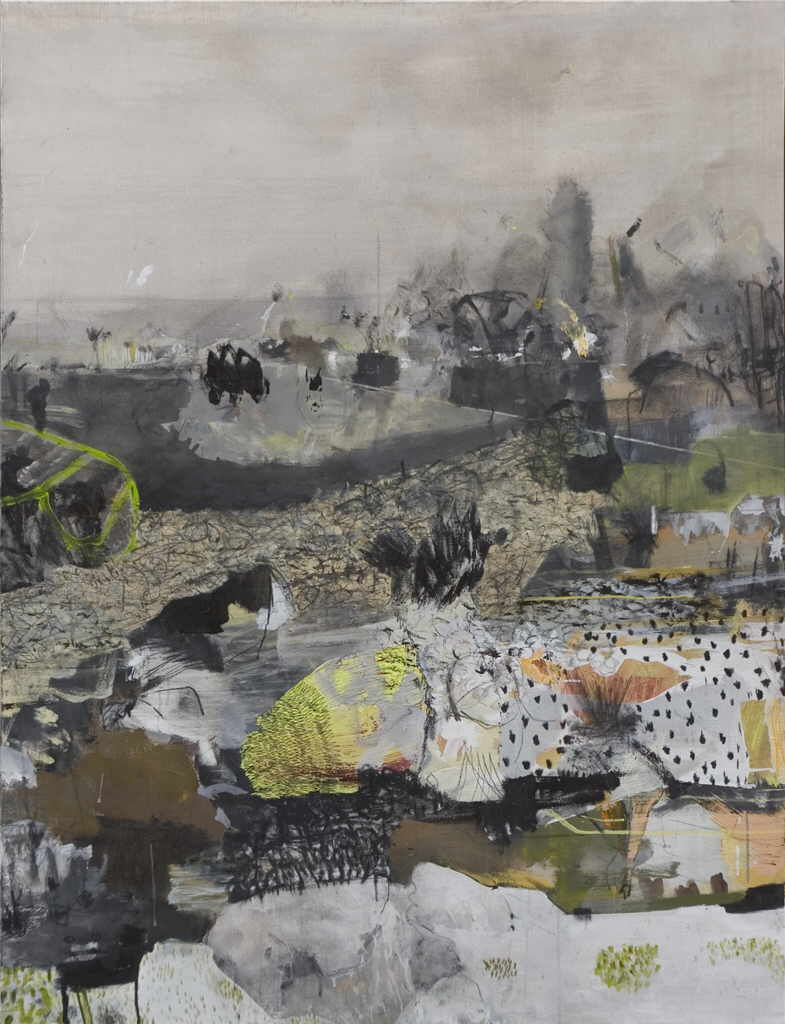 "Rausch Kevin A.  ""Hollow hills"", 2005 mixed media / canvas 164 x 124 cm"