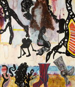 "S�LL Michaela  ""Comtemporary Aborigines"", 2007  mixed media / canvas   140 x 120 cm     please click the image to enlarge"